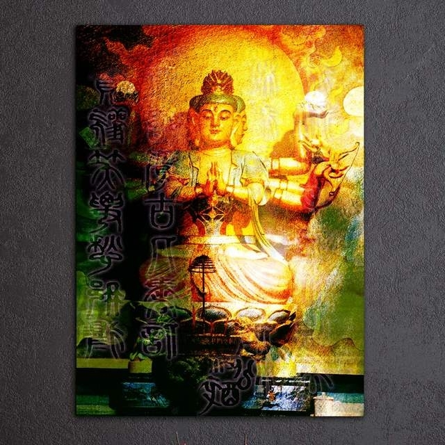 Online Shop 1 Piece Canvas Art Large Buddha Wall Art Meditation For Most Up To Date Large Buddha Wall Art (View 12 of 15)