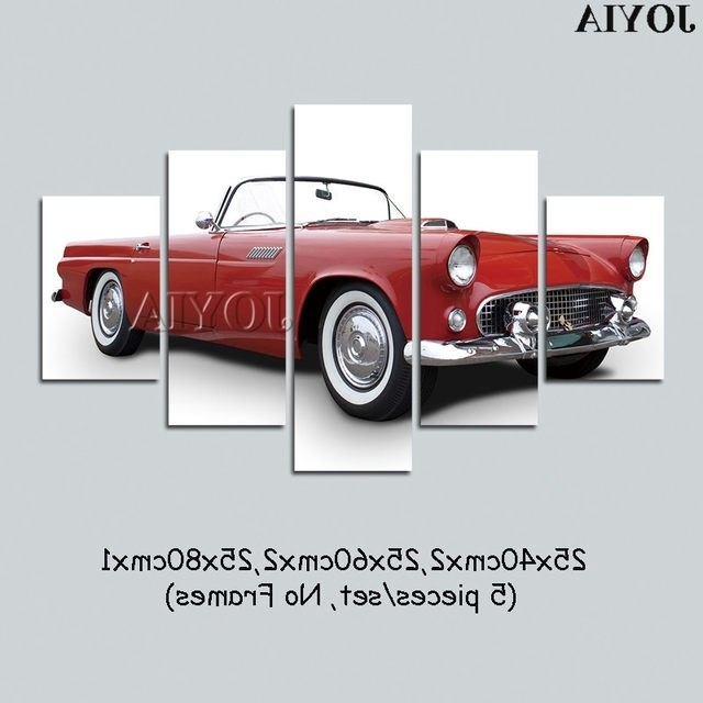 Online Shop 5 Pieces Classic Car Wall Art Decor Chevrolet Regarding Well Known Classic Car Wall Art (View 2 of 15)