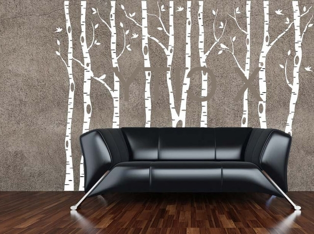 Online Shop Birch Aspen Trees Birds Forest Wall Art Stickers Pertaining To Well Known Aspen Tree Wall Art (View 11 of 15)