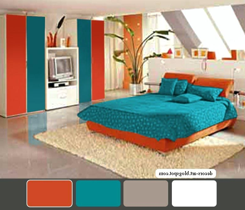 Orange And Turquoise Wall Art In Current Turquoise Bedroom Decor – Thesynergists (View 14 of 15)