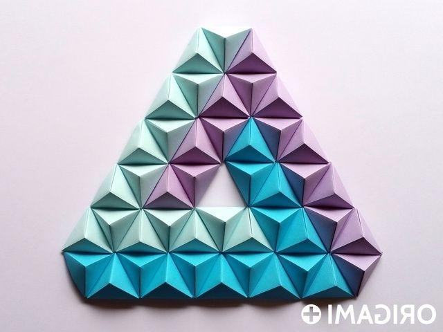 Origami Pyramid Pixels For 3D Paper Wall Art Regarding Popular 3D Triangle Wall Art (View 6 of 15)