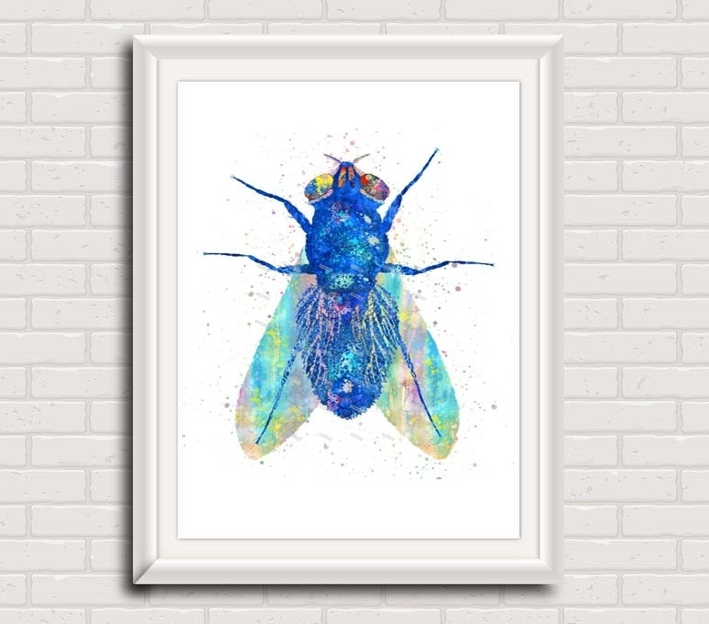 Original Watercolor Moth Canvas Painting Animal Wall Art Insect Intended For Current Insect Wall Art (View 4 of 15)