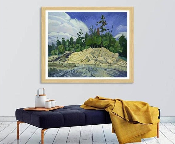 Ottawa River Abstract Painting Landscape,horizontal Wall Art Poster In Current Ottawa Abstract Wall Art (View 13 of 15)