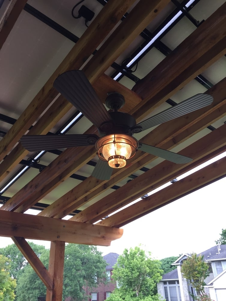 Outdoor Ceiling Fan Installed Under Solar Pergola (Concealed Power For Current Outdoor Ceiling Fans Under Pergola (View 8 of 15)
