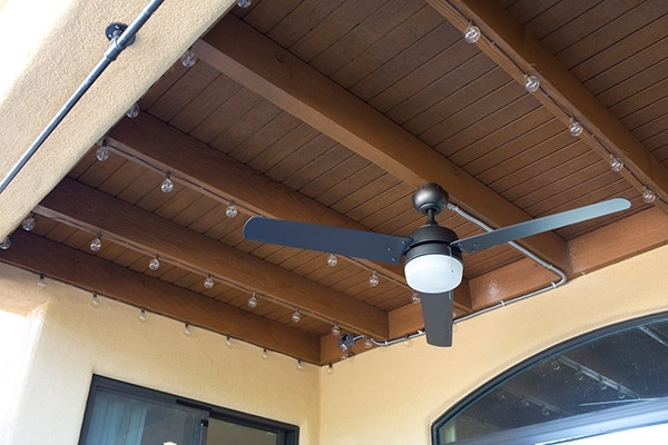 Outdoor Ceiling Fan Under Deck With Well Known How To Install String Lights On A Porch – The Home Depot Blog (View 10 of 15)