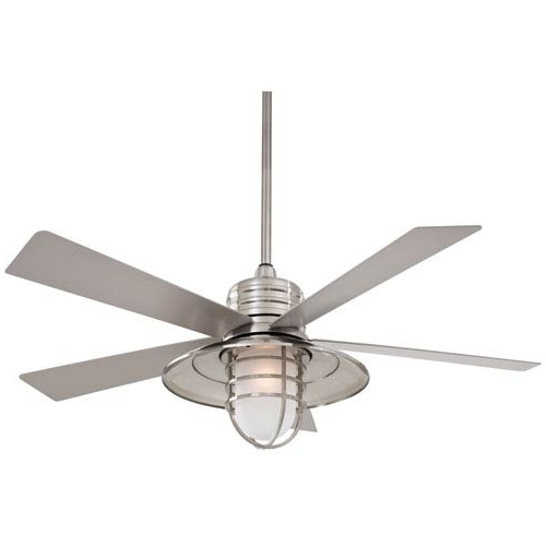 Outdoor Ceiling Fans For Wet Locations Within Popular Minka Aire Rainman Brushed Nickel 54 Inch Blade Indoor/outdoor (View 8 of 15)
