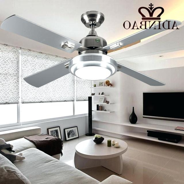 Outdoor Ceiling Fans With Bright Lights Throughout Most Popular Bright Ceiling Fan Modern Silver Color Fans Industrial Light Outdoor (View 14 of 15)