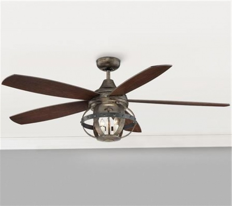 "Outdoor Ceiling Fans With Cage Inside Current Lighting & Ceiling Fans: 52"" Indoor/outdoor Rivet Globe Cage For (View 7 of 15)"