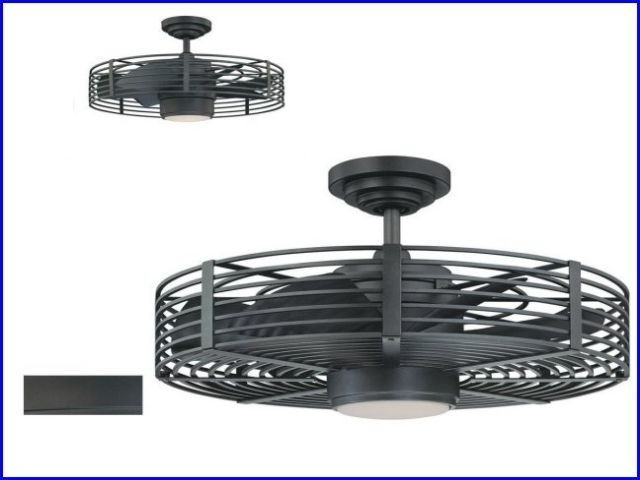 Outdoor Ceiling Fans With Cage Pertaining To Well Known Attractive Enclosed Blade Ceiling Fan At Lighting And Fans For (View 11 of 15)