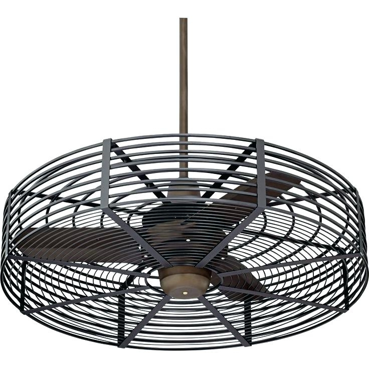 Outdoor Ceiling Fans With Cage Throughout Best And Newest Caged Outdoor Ceiling Fans Galvanized Fan With Light Cage Style (View 12 of 15)