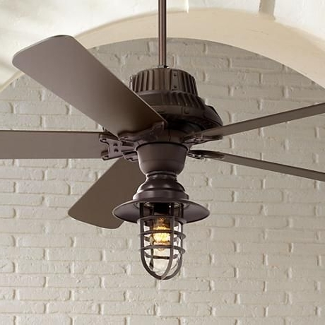 "Outdoor Ceiling Fans With Cage Within Favorite 60"" Industrial Forge™ Marlowe Cage Outdoor Ceiling Fan (View 8 of 15)"