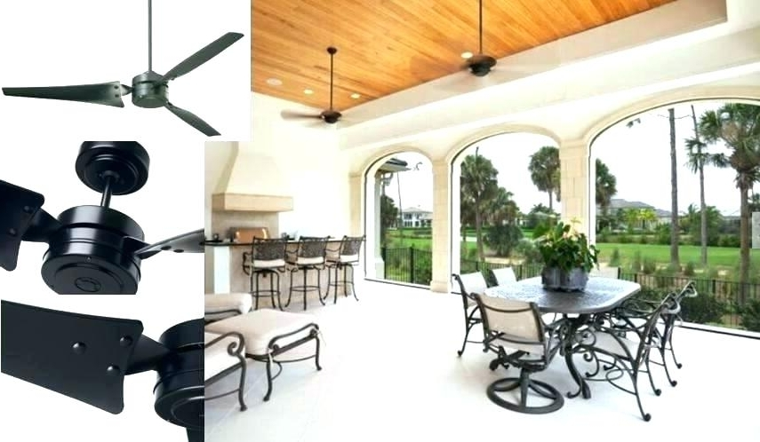 Outdoor Ceiling Fans With Cord Within Famous Black Outdoor Ceiling Fan – Dealchamp (View 14 of 15)