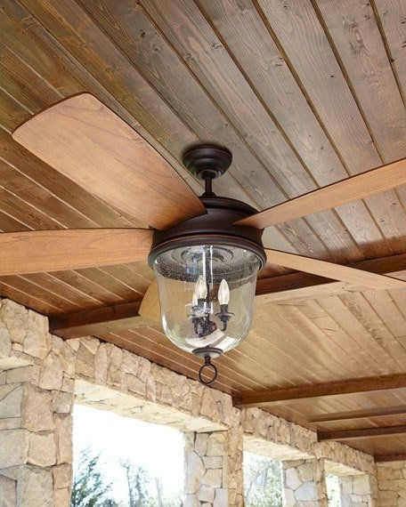 Outdoor Ceiling Fans With Lantern Light inside 2018 Dark Aged Bronze Outdoor Ceiling Fan With Lantern