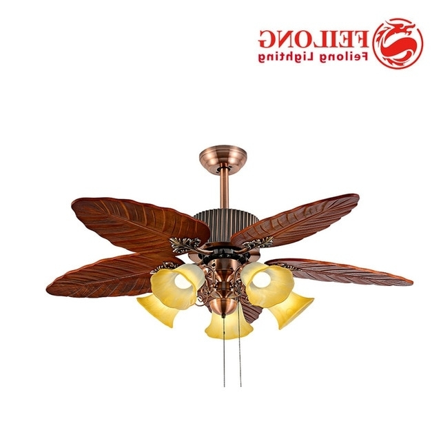 Outdoor Ceiling Fans With Leaf Blades Pertaining To Latest Ceiling Fan Huge Leaf Blades With Five Light Kits Pull Chain Control (View 11 of 15)