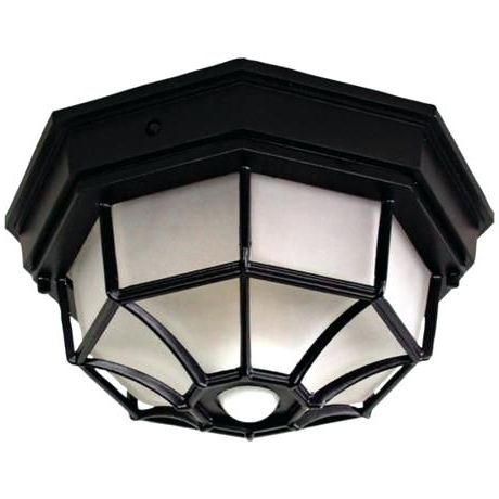 Outdoor Ceiling Fans With Motion Light With Most Current Ceiling Lights Outdoor Octagonal Wide Black Motion Sensor Outdoor (View 11 of 15)