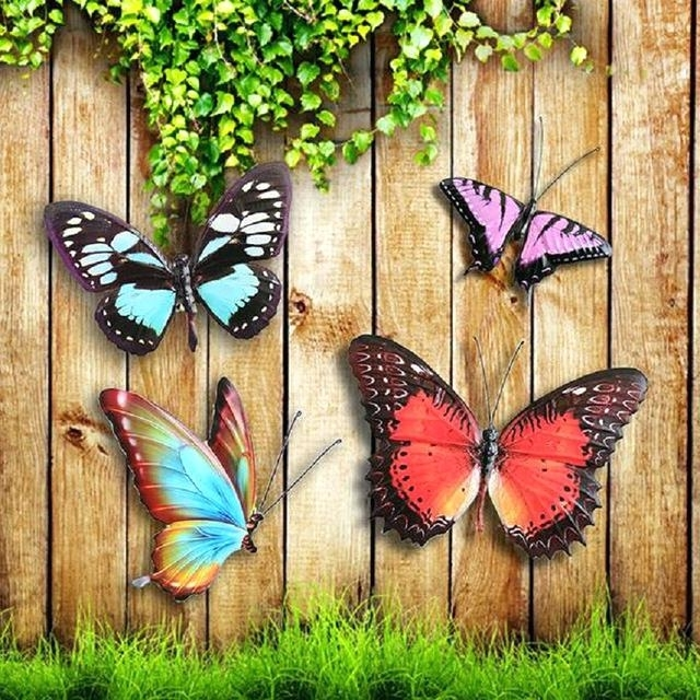 Outdoor Metal Butterfly Wall Art Metal Colourful Butterflies Wall Throughout Most Current 3D Garden Wall Art (View 12 of 15)