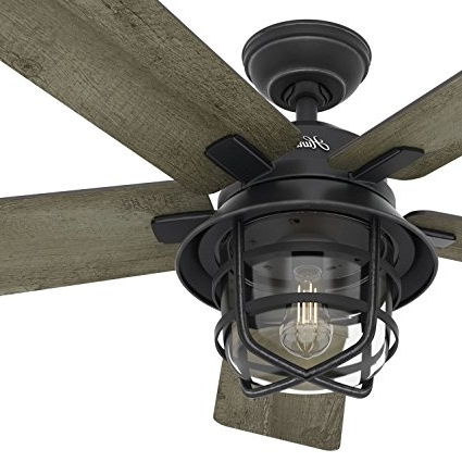 "Outdoor Rated Ceiling Fans With Lights Pertaining To Most Recent Amazon: Hunter Fan 54"" Weathered Zinc Outdoor Ceiling Fan With A (View 10 of 15)"