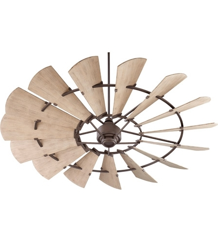 Outdoor Windmill Ceiling Fans With Light Inside Widely Used Quorum 197215 86 Windmill 72 Inch Oiled Bronze With Weathered Oak (View 9 of 15)