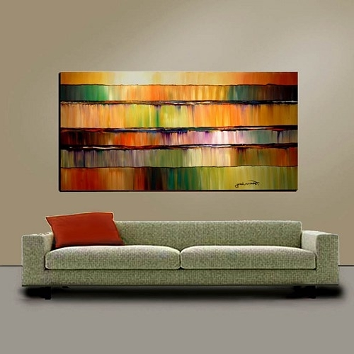 Oversized Abstract Wall Art Intended For Best And Newest Abstract Wall Art Large 24X48 Original Painting Modern Impasto (View 8 of 15)