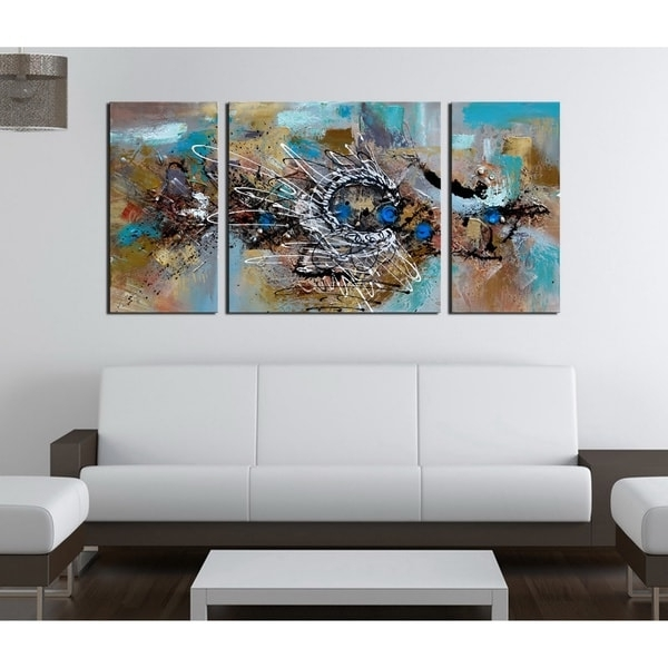 Overstock Abstract Wall Art with Popular Shop Hand-Painted 'abstract 491' 3-Piece Gallery-Wrapped Canvas Art