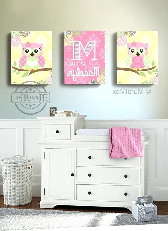 Owl Canvas Wall Art Floral Owl Girls Wall Art Owl Canvas Art Nursery In Most Up To Date Kids Canvas Wall Art (View 9 of 15)