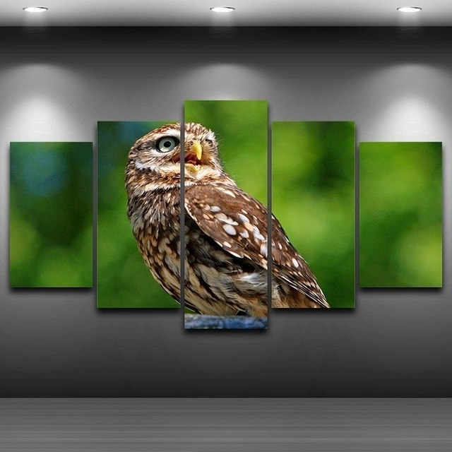 Owl Framed Wall Art In Widely Used Owl Animal Spray Oil Painting Decoration Framed Wall Art Picture (View 7 of 15)