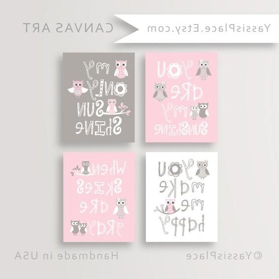 Owl Nursery Canvas Art Baby Girl Nursery You Are My Sunshine (View 11 of 15)