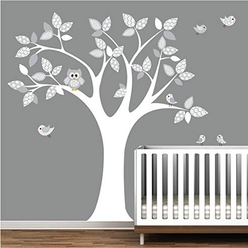 Owl Wall Art Stickers For Preferred Amazon: Pattern Tree Decal Owl Wall Decals Wall Stickers Nursery (View 8 of 15)