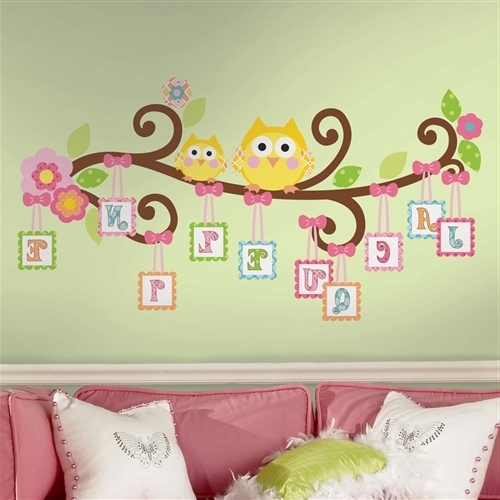 Owl Wall Art Stickers Pertaining To Most Up To Date Owls On A Tree Wall Decals For Girls Rooms And Baby Nursery – Cute (View 2 of 15)