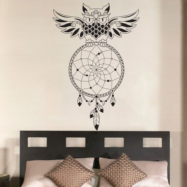 Owl Wall Art Stickers Throughout Recent Dream Catcher Bedroom Owl Wall Decal Art Decor Sticker Vinyl Mural (View 8 of 15)