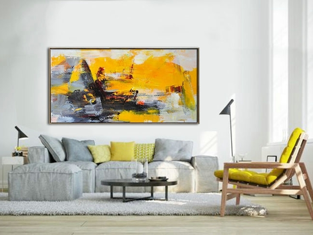 Palette Knife Painting, Original Horizontal Wall Art, Abstract Art Intended For Best And Newest Horizontal Abstract Wall Art (View 3 of 15)
