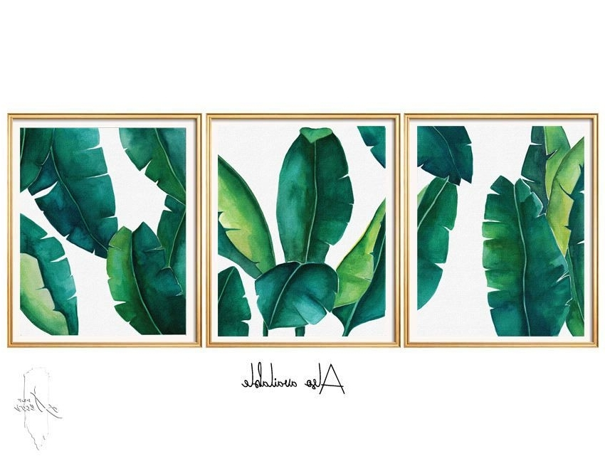 Palm Leaf Wall Art In 2018 Set Of 3 Prints, Cheap Wall Decor, Order Prints, Fine Art Prints (View 5 of 15)