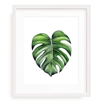Palm Leaf Wall Art In Fashionable Amazon: Hello Gorgeous Wall Art, Monstera Leaf Wall Art Print (View 6 of 15)