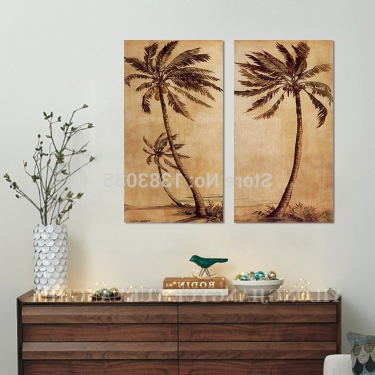 Palm Tree Metal Art With Regard To 2017 Palm Tree Wall Art Hand Painted Abstract Palm Tree Paintings On (View 11 of 15)