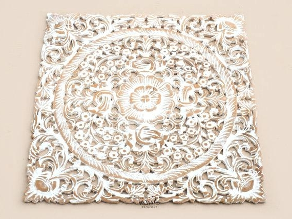 Panel Wall Decor White Wash Wood Carving White Wood Wall Art Panel In Most Up To Date Wood Carved Wall Art Panels (View 10 of 15)