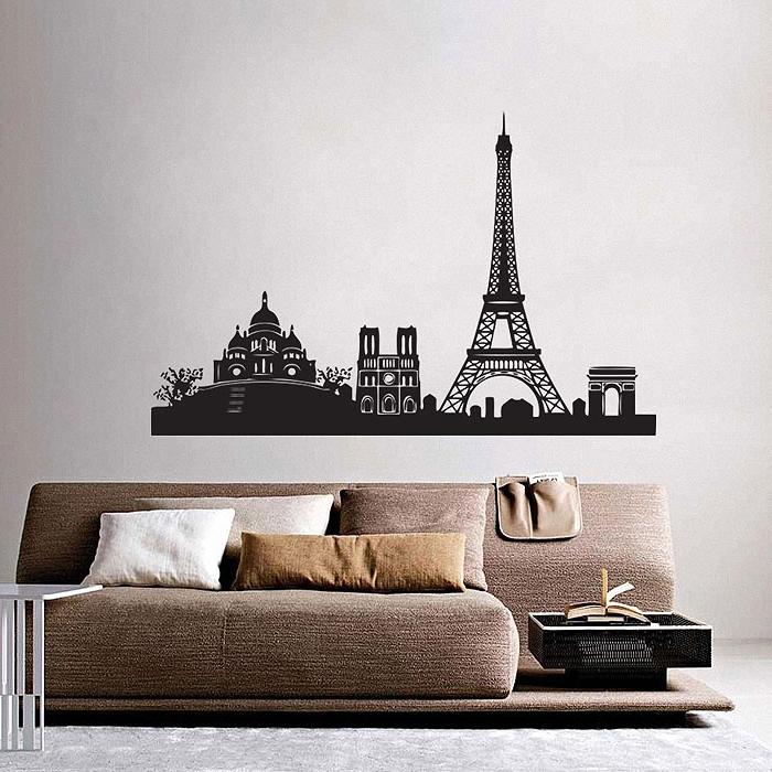 Paris City Skyline Vinyl Wall Art Decal Throughout Best And Newest Paris Vinyl Wall Art (View 8 of 15)