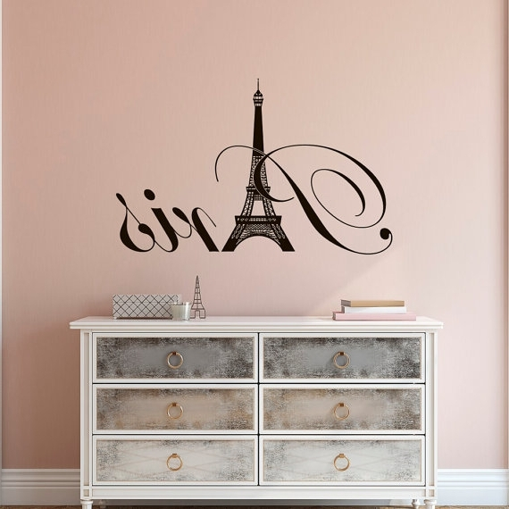 Paris Eiffel Tower Vinyl Wall Decal  Paris Theme Bedroom Decor Intended For Well Liked Paris Theme Wall Art (View 5 of 15)