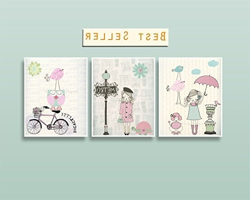 Paris Theme Nursery Wall Art Throughout Most Recently Released Amazon: Nursery Wall Art Paris Decor, Mint, Light Blue And Pink (View 8 of 15)