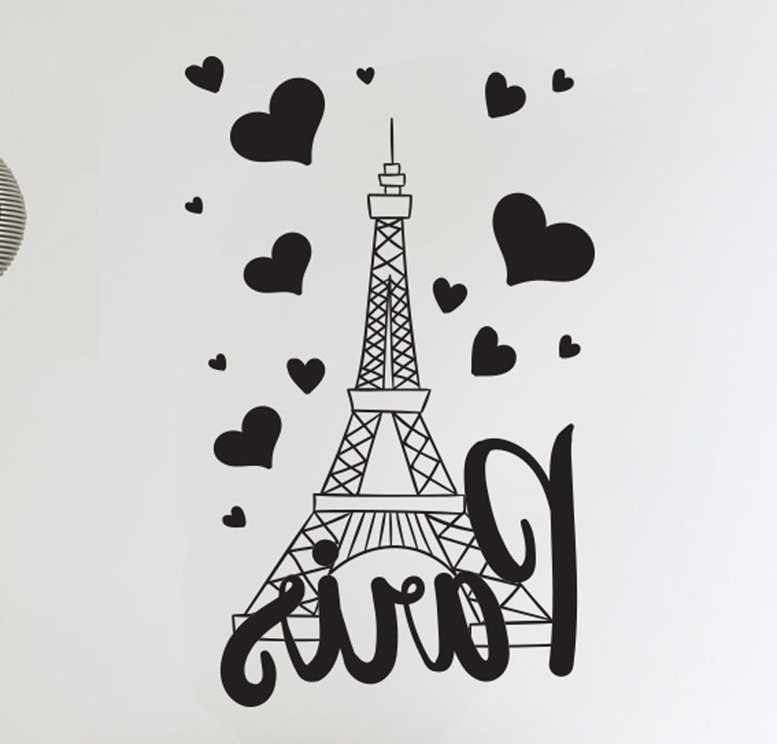 Paris Vinyl Wall Art Within Trendy Paris France Eiffel Tower Love Wall Art Decal Decor Vinyl Sticker Mural (View 6 of 15)