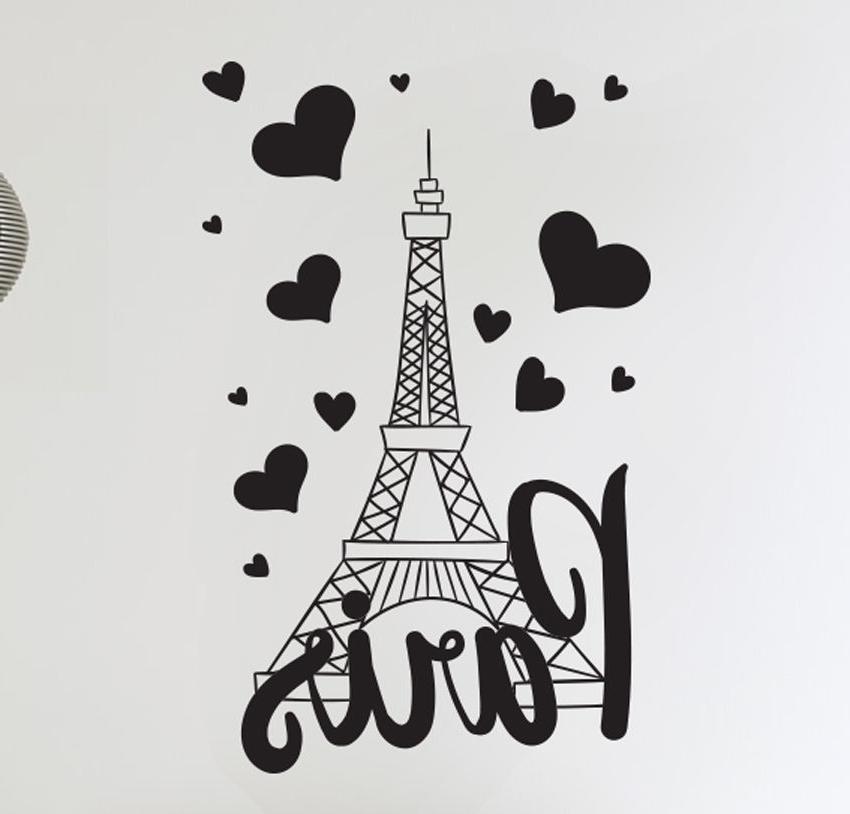 Paris Vinyl Wall Art Within Trendy Paris France Eiffel Tower Love Wall Art Decal Decor Vinyl Sticker Mural (View 6 of 15)
