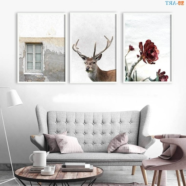 Pastel Modern Wall Art Stag Head Deer Poster Red Flower Prints Inside Well Liked Stag Wall Art (View 8 of 15)