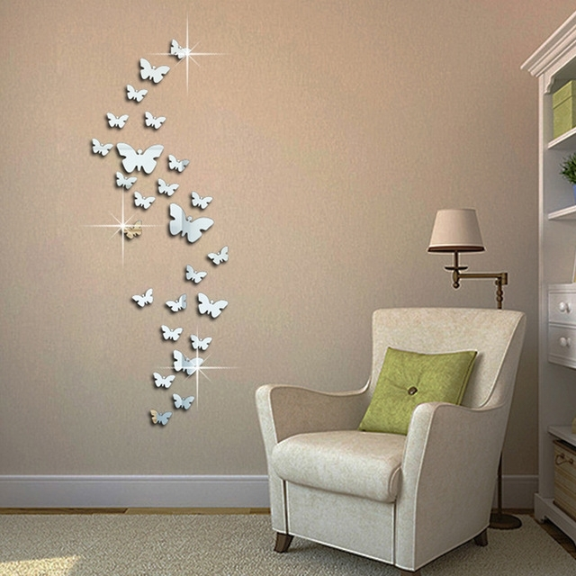 Pcs D Mirror Butterfly Wall Stickers Decal Wall Art Removable Where Pertaining To Well Liked Butterflies Wall Art Stickers (View 10 of 15)