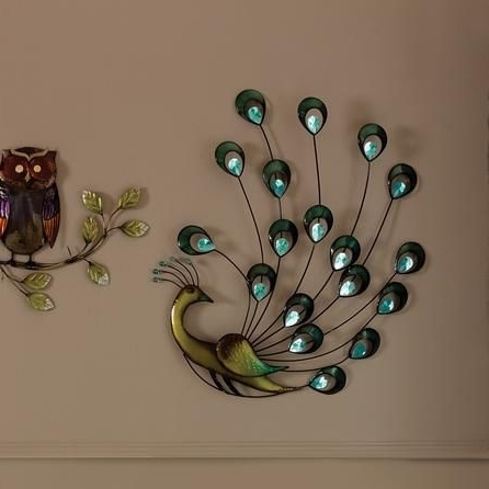 Peacock Wall Decor Peacock Wall Art Plaque Metal Hook Hanger Jeweled Intended For Latest Jeweled Peacock Wall Art (View 15 of 15)