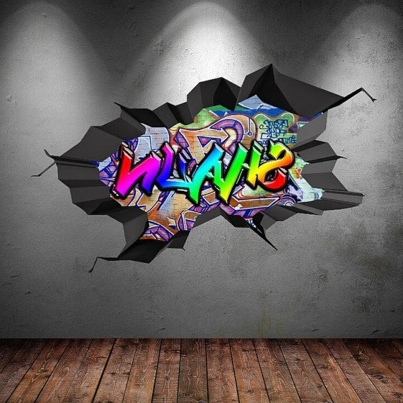 Personalised Name Full Colour Graffiti Wall Decals Cracked 3D Wall inside Popular Graffiti Wall Art Stickers