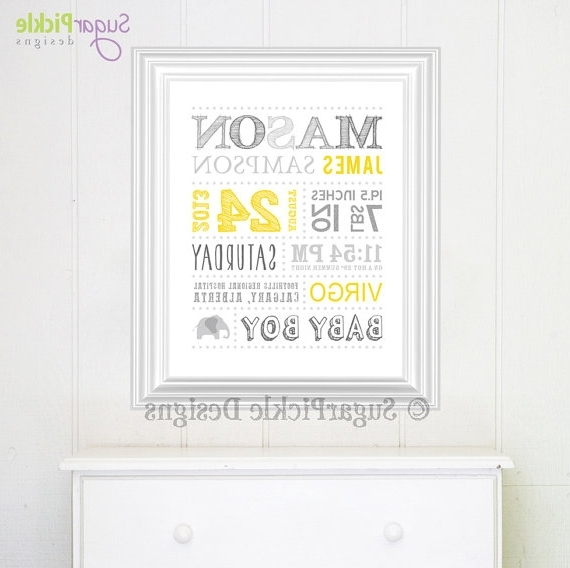 Personalized Nursery Art // Wall Art // Birth Announcement // Baby With Favorite Personalized Nursery Wall Art (View 8 of 15)