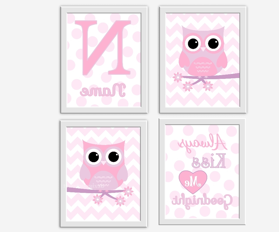 Personalized Nursery Wall Art In Most Current Owl Baby Girl Nursery Wall Art Pink Lavender Purple Girl Room Art (View 6 of 15)