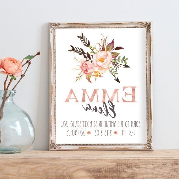 Personalized Nursery Wall Art With Trendy Birth Announcement Print Nursery Wall Art Personalized Ba Gift With (View 13 of 15)