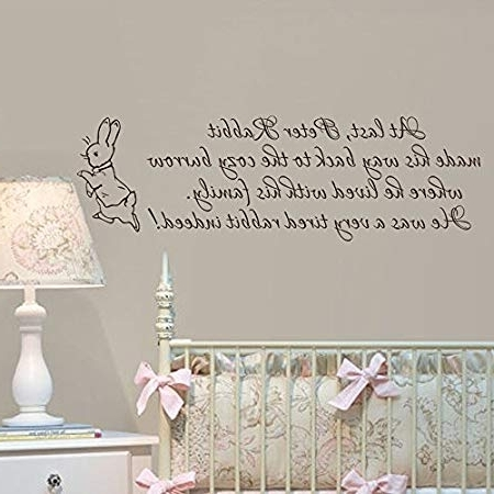 Peter Rabbit Wall Art Intended For 2017 Baby Nursery Wall Decal Peter Rabbit Wall Sticker Vinyl Lettering (View 2 of 15)
