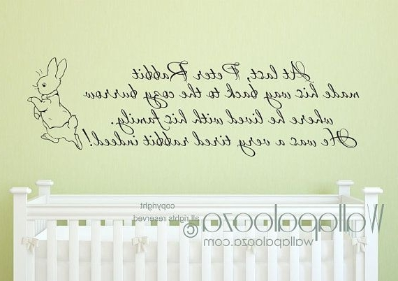 Peter Rabbit Wall Decal – Nursery Wall Decal – Baby Room Wall Decal Regarding Well Known Peter Rabbit Wall Art (View 9 of 15)