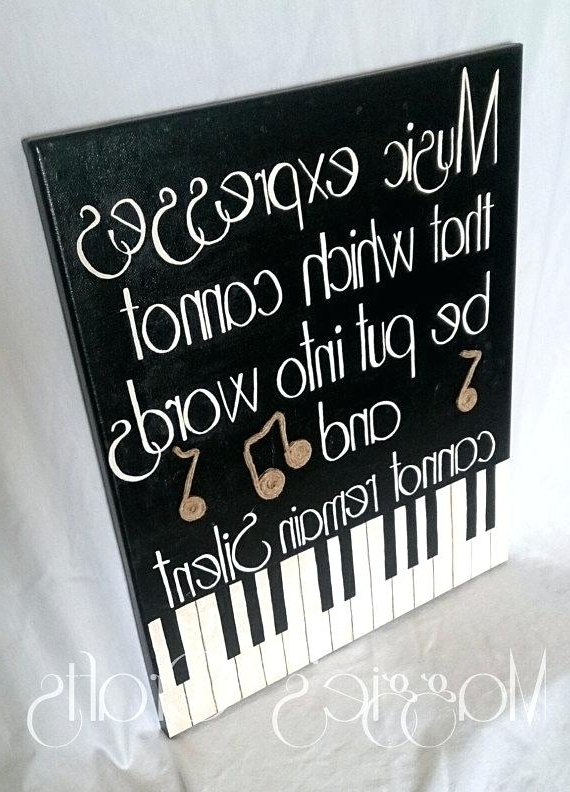 Piano Wall Art Music Themed Canvas Music Inspired Music Notes Black With Current Abstract Musical Notes Piano Jazz Wall Artwork (View 14 of 15)